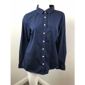 J.CREW Large Shirt Blue Cotton Spandex Long Sleeve